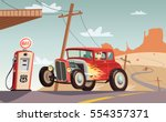 hot rod car  in route 66. desert | Shutterstock .eps vector #554357371