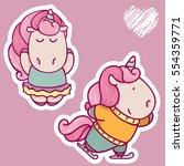 vector set of cute unicorns.... | Shutterstock .eps vector #554359771