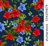 illustration of floral seamless ... | Shutterstock . vector #554359879