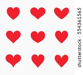 Set Of Red Hearts Icons. Vecto...