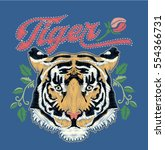 tiger embroidery design.vector | Shutterstock .eps vector #554366731