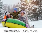 winter vacation  riding on snow ... | Shutterstock . vector #554371291