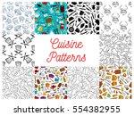 cuisine pattern set. vector...   Shutterstock .eps vector #554382955