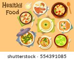 healthy lunch dishes icon of... | Shutterstock .eps vector #554391085