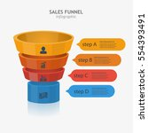 3d sales funnel various layers... | Shutterstock .eps vector #554393491