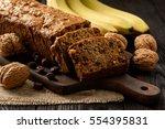 homemade banana bread on wooden ...   Shutterstock . vector #554395831