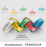 3d rings linked vector business ... | Shutterstock .eps vector #554402419