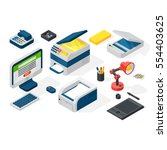 isometric office equipment... | Shutterstock .eps vector #554403625