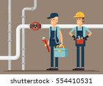 couple plumber workers  male... | Shutterstock .eps vector #554410531