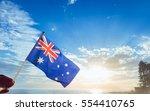 australia flag national hand... | Shutterstock . vector #554410765