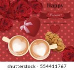 romantic roses love two coffee... | Shutterstock .eps vector #554411767