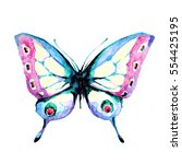 butterfly watercolor on a white  | Shutterstock . vector #554425195