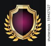 golden shield with laurel... | Shutterstock .eps vector #554427127