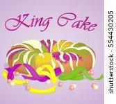 traditional festive king cake... | Shutterstock .eps vector #554430205