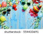 colorful carnival frame of... | Shutterstock . vector #554433691