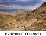 a car driving the hairpin turns ... | Shutterstock . vector #554438041
