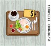 foods objects coffee breakfast...   Shutterstock .eps vector #554438881