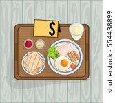 foods objects breakfast egg ham ...   Shutterstock .eps vector #554438899