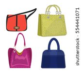 women leather color handbags... | Shutterstock .eps vector #554441071