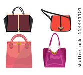women leather color handbags... | Shutterstock .eps vector #554441101
