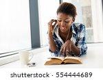 young beautiful black woman...   Shutterstock . vector #554444689