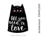 happy valentines day greeting... | Shutterstock .eps vector #554451565