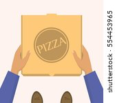 pizza delivery. handing product ... | Shutterstock .eps vector #554453965