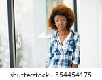 young beautiful black woman in... | Shutterstock . vector #554454175