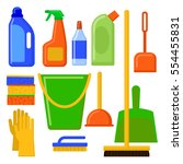 house cleaning tools.... | Shutterstock .eps vector #554455831