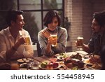 asian people are dining in a... | Shutterstock . vector #554458945