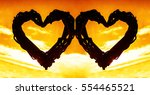 couple wicker silhouette of... | Shutterstock . vector #554465521