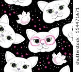 Stock vector cute cats seamless pattern background 554471671