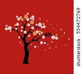 silhouette sakura tree with... | Shutterstock .eps vector #554472769