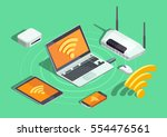 wireless technology devices... | Shutterstock .eps vector #554476561