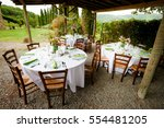 reception tables beautifully... | Shutterstock . vector #554481205