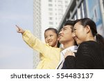 a happy family of three to go... | Shutterstock . vector #554483137