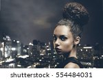 beautiful african american... | Shutterstock . vector #554484031