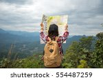 asia woman traveler with... | Shutterstock . vector #554487259