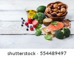 selection of healthy food for... | Shutterstock . vector #554489497
