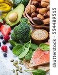 selection of healthy food for... | Shutterstock . vector #554489515