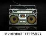 vintage silver radio boom box... | Shutterstock . vector #554493571