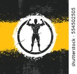 strong man athlete fitness... | Shutterstock .eps vector #554502505