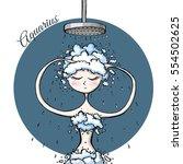 cute zodiac sign aquarius | Shutterstock .eps vector #554502625