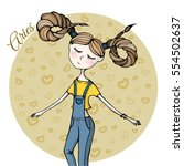 cute zodiac sign aries | Shutterstock .eps vector #554502637