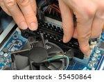 technician's hands installing... | Shutterstock . vector #55450864