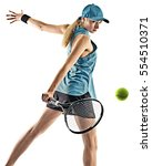 Tennis Woman Isolated Silhouette