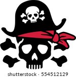 pirate skull with bones and red ... | Shutterstock .eps vector #554512129