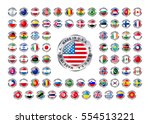set of round glossy icons with... | Shutterstock .eps vector #554513221