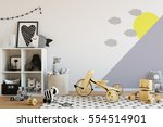 mock up wall in child room... | Shutterstock . vector #554514901