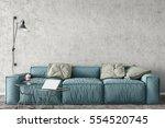 mock up wall interior. wall art.... | Shutterstock . vector #554520745